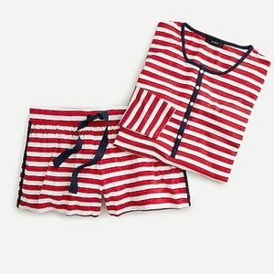 Jcrew Soft Jersey Stripe Henley Pajama Set